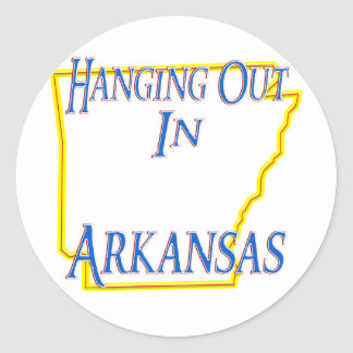 Arkansas - colgando hacia fuera pegatinas redondas