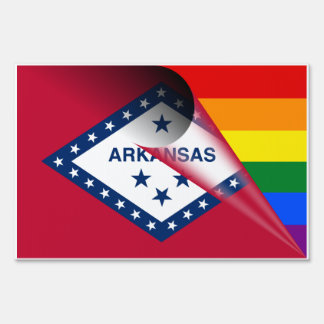 Arkansas Flag Gay Pride Rainbow Flag Lawn Sign