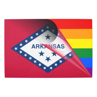 Arkansas Flag Gay Pride Rainbow Flag Metal Photo Print