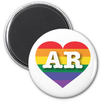 Arkansas Gay Pride Rainbow Heart -  Big Love 2 Inch Round Magnet