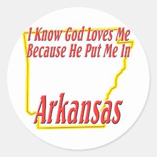Arkansas - God Loves Me Classic Round Sticker