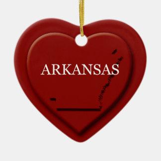 Arkansas Heart Map Christmas Ornament