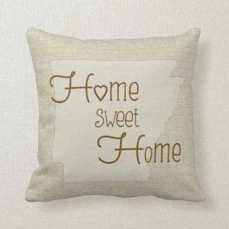 Arkansas-Home Sweet Home burlap-look custom name Throw Pillows