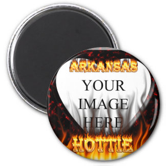 arkansas hottie fire and flames 2 inch round magnet