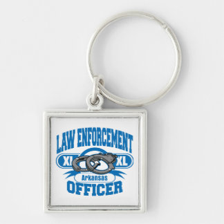 Arkansas Law Enforcement Officer Handcuffs Silver-Colored Square Keychain