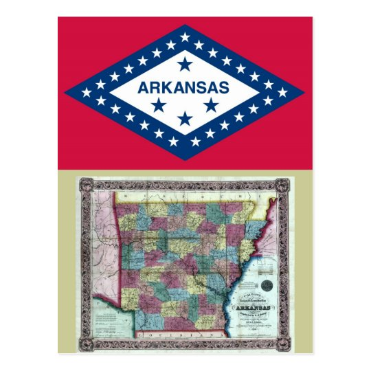 Arkansas Map and State Flag Postcard