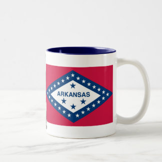 Arkansas Map and State Flag Two-Tone Coffee Mug