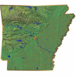 """Arkansas Map Keychain Cut Out<br><div class=""""desc"""">This key-chain,  shaped like the state of Arkansas,  displays a relief map of the state surrounded by a gold effect border. An attractive token of Arkansan memories.  Map derived from images at nationalatlas.gov.</div>"""