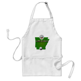Arkansas Map, Seal and State Quarter Adult Apron