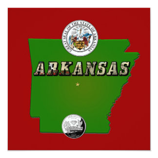 Arkansas Map, Seal and State Quarter Card