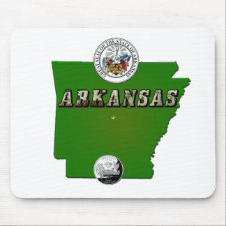 Arkansas Map, Seal and State Quarter Mouse Pad