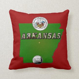 Arkansas Map Seal and State Quarter Throw Pillow
