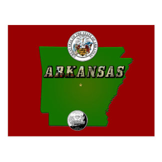 Arkansas Map, Seal and State Quarter Postcard