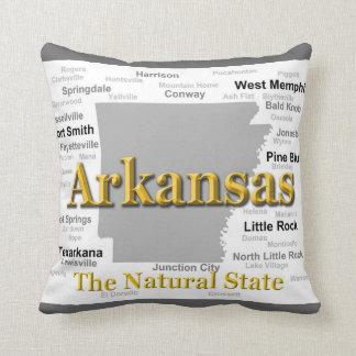 Arkansas Map Silhouette Throw Pillow