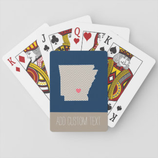 Arkansas Map with Custom Red Heart and Name Playing Cards