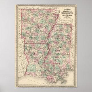 Arkansas, Mississippi, and Louisiana Poster