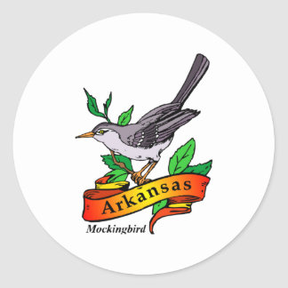 arkansas mockingbird classic round sticker