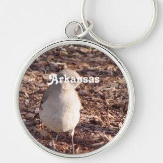 Arkansas Mockingbird Silver-Colored Round Keychain