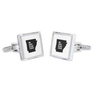 Arkansas: No Hate In My State Silver Finish Cuff Links