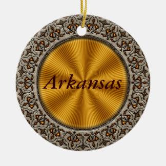 Arkansas Double-Sided Ceramic Round Christmas Ornament