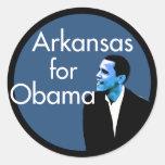 Arkansas para los pegatinas de Obama Pegatina Redonda