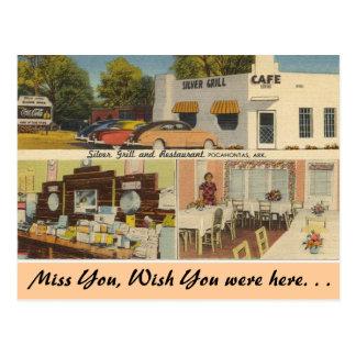 Arkansas, parrilla de plata y café tarjeta postal