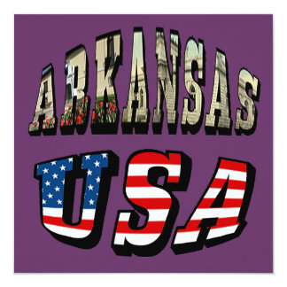 Arkansas Picture and USA Flag Text Card