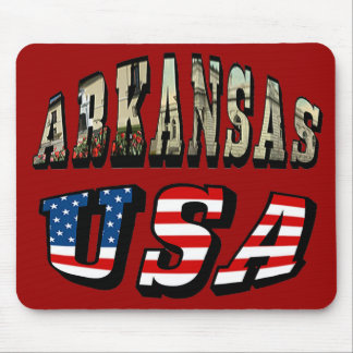 Arkansas Picture and USA Flag Text Mouse Pad