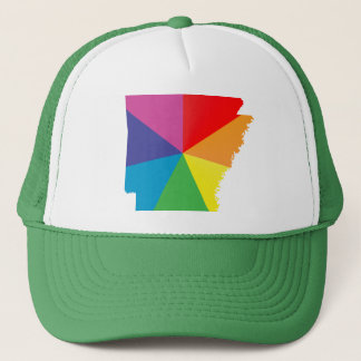 arkansas pride. angled. trucker hat