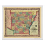 Arkansas Railroad Map 1854 Poster