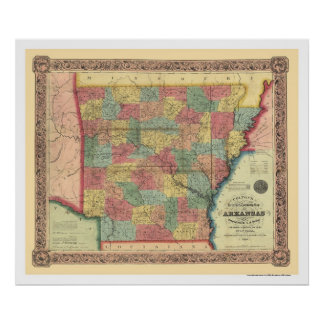 Arkansas Railroad Map 1854 Posters