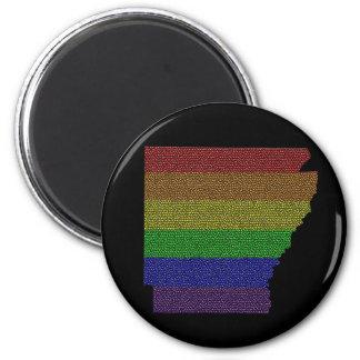 Arkansas Rainbow Pride Flag Mosaic 2 Inch Round Magnet