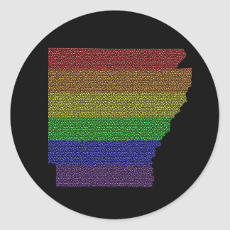 Arkansas Rainbow Pride Flag Mosaic Classic Round Sticker