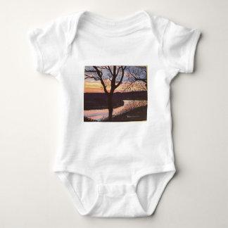 Arkansas River Sunset Painting Baby Bodysuit