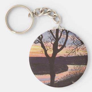 Arkansas River Sunset Painting Basic Round Button Keychain