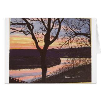 Arkansas River Sunset Painting Card