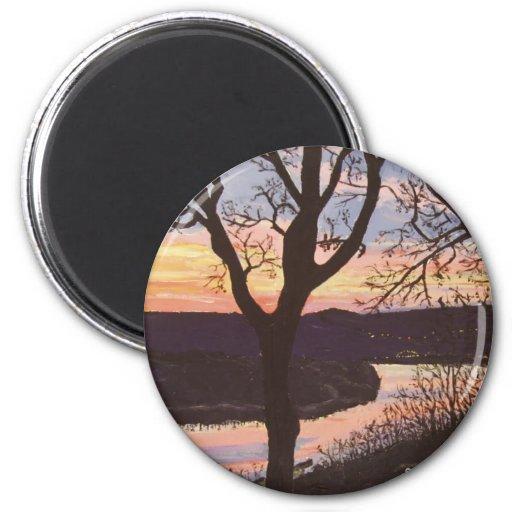 Arkansas River Sunset Painting Fridge Magnet