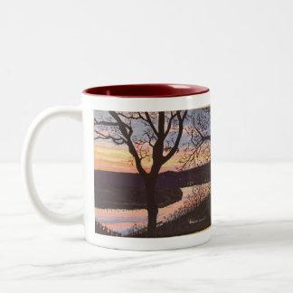 Arkansas River Sunset Painting Two-Tone Coffee Mug