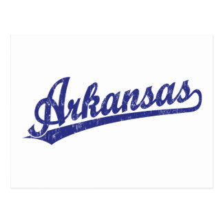 Arkansas script logo in blue post cards