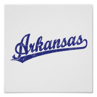 Arkansas script logo in blue poster