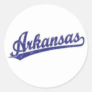 Arkansas script logo in blue classic round sticker