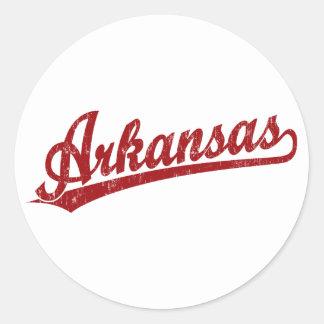 Arkansas script logo in red classic round sticker
