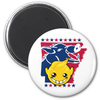 arkansas smiley and razor back 2 inch round magnet