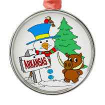 Arkansas Snowman Hog Metal Ornament