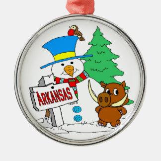 Arkansas Snowman Hog Metal Ornament