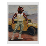 Arkansas Soldier Hog Razorback Military Print
