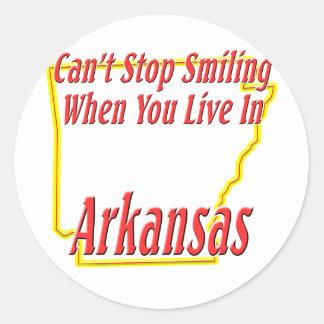 Arkansas - sonriendo etiqueta redonda