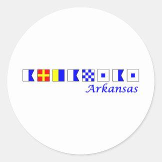 Arkansas spelled in nautical flag alphabet classic round sticker