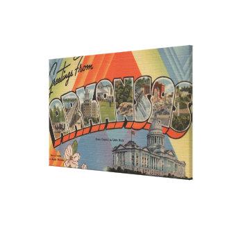 Arkansas (State Capital) - Large Letter Scenes Canvas Print