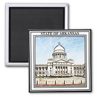 Arkansas State Capitol 2 Inch Square Magnet